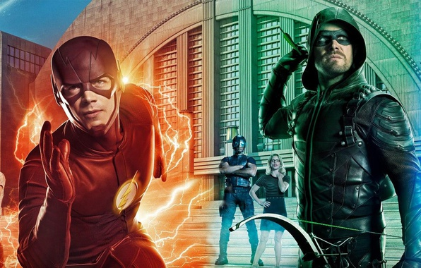 Picture girl, man, crossover, hero, Arrow, yuusha, tv series, The Flash, DC Universe, Legends of Tomorrow, …