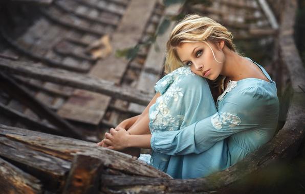 Picture girl, pose, boat, dress, blonde, Alisa Tarasenko