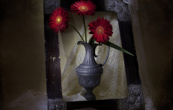 Picture flowers, style, frame, vase, vintage
