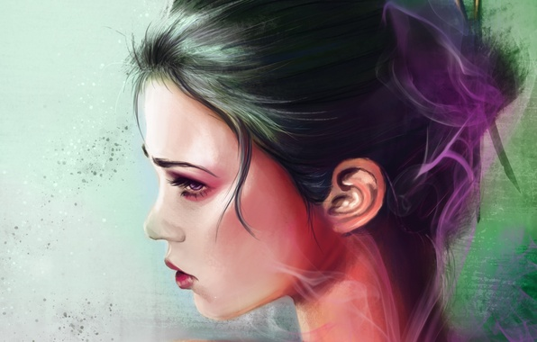 Picture face, background, hair, smoke, makeup, art, geisha, profile, painting, shoulders