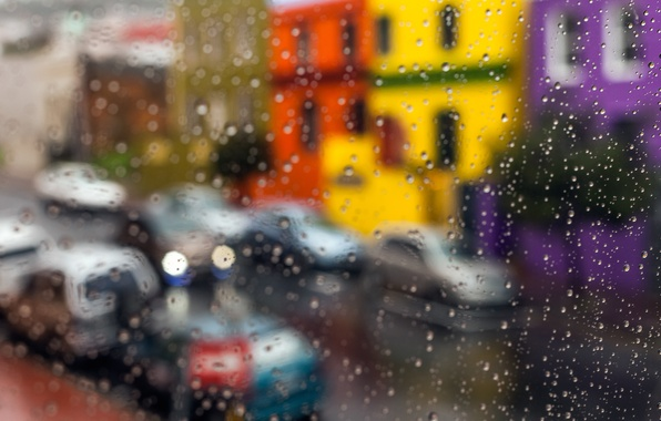 Picture glass, drops, macro, city, the city, rain, street, glass, rain, drops