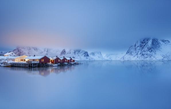 Picture sea, mountains, village, Norway, houses, Norway, the fjord, The Lofoten Islands, The Norwegian sea, Lofoten, …