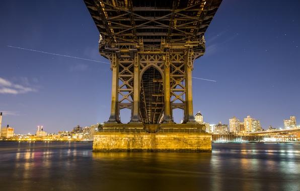 Picture bridge, lights, New York, the evening, support, twilight
