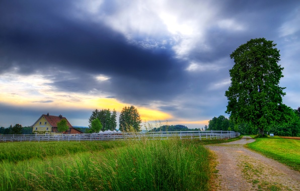 Picture sunset, photo, The sky, Nature, Clouds, Road, Dawn, Landscape