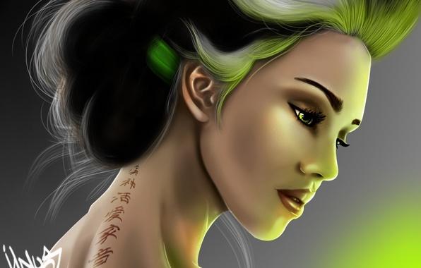 Picture girl, light, tattoo, art, tattoo