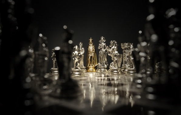 Picture dark, silver, game, gold, woman, man, chess, board, queen, king, pawn, bishop, rook