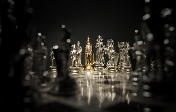 Photo Wallpaper Dark Silver Game Gold Woman Man Chess
