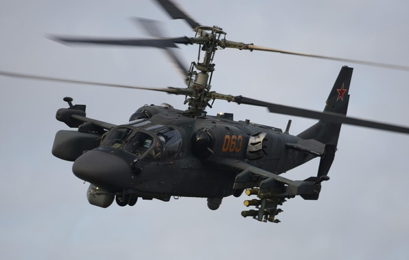 "Picture flight, helicopter, Russian, Ka-52, shock, ""Alligator"""