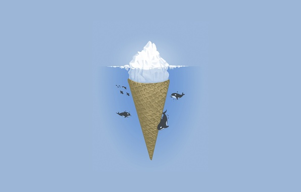 Picture sea, the ocean, minimalism, vector, iceberg, ice cream, illustration, orcas