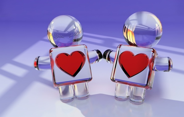Picture glass, reflection, heart, men, render