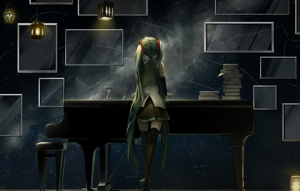 Picture girl, anime, piano, art, vocaloid, hatsune miku, lanterns, saihate