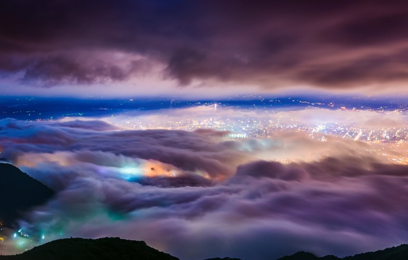 Picture clouds, night, lights, fog, Taipei