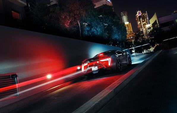 Picture car, the city, supercar, supercar, black, race, headlights, Lykan Hypersport, diodes