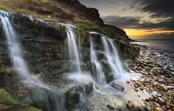 Picture Sunset, Sunrise, Waterfall, Dorset, Jurassic Coast, Osmington Mills
