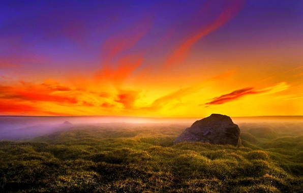 Picture STONE, GRASS, HORIZON, The SKY, CLOUDS, PLAIN, SUNSET, GREEN, DAL, DAWN