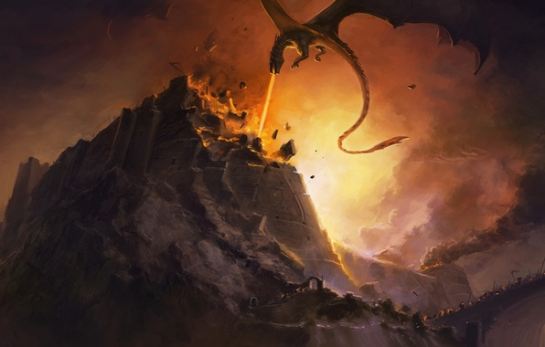 Picture fire, dragon, destruction, fire, battle, fortress, John Ronald Reuel Tolkien, dragon, John Ronald Reuel Tolkien, …