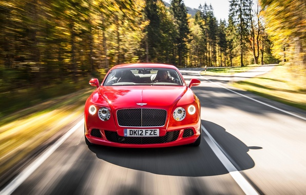 Picture Red, Bentley, Continental, Forest, Grille, Asphalt, Red, Lights, Car, The front