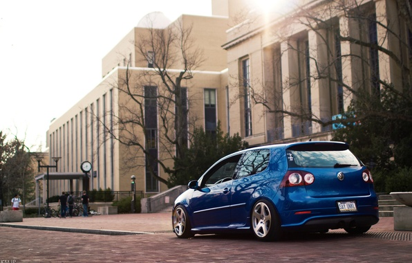 Picture blue, the city, tuning, building, volkswagen, Golf, R32, golf