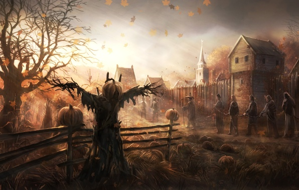 Picture autumn, leaves, trees, people, the wind, home, art, Church, pumpkin, fences, Scarecrow, the garden, prisoners
