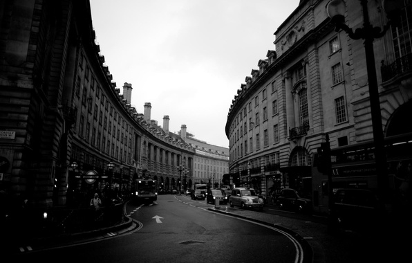 Picture road, the city, photo, background, Wallpaper, street, London, building, home, black and white