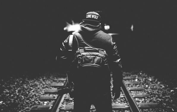 Picture light, darkness, hat, back, camera, railroad, male, backpack