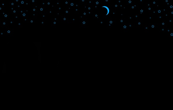 Picture night, the moon, black, star, goluby