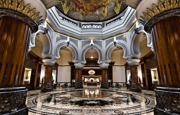 Picture interior, columns, marble, arch, the hotel, painting, the ceiling.