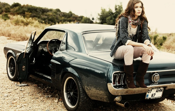 Picture road, machine, girl, model, mustang, Mustang, car, ford, Ford, gravel, 1967