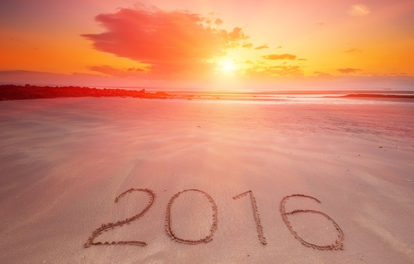 Picture sand, sea, beach, sunset, New Year, figures, New Year, Happy, 2016