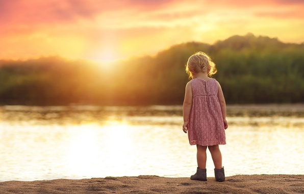 Picture sand, summer, the sun, sunset, river, dress, girl, child