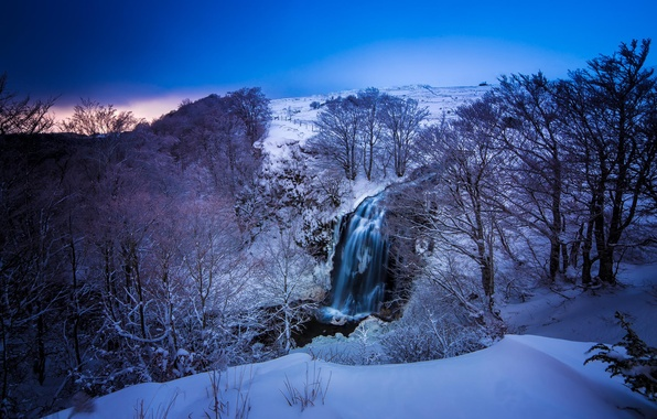 Picture winter, snow, trees, landscape, mountains, nature, river, blue, France, color, waterfall, Auvergne