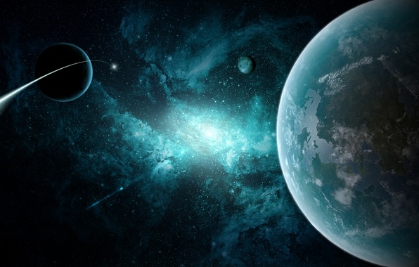 Picture space, stars, planet, galaxy