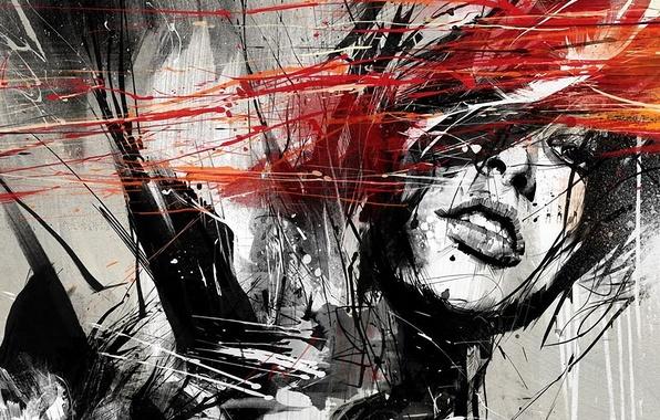 Picture girl, splash, urban art, paint, russ mills