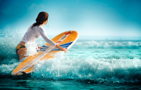Picture sea, wave, water, girl, sport, Surfing, water sports