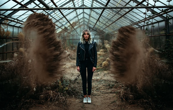 Picture girl, greenhouse, dust