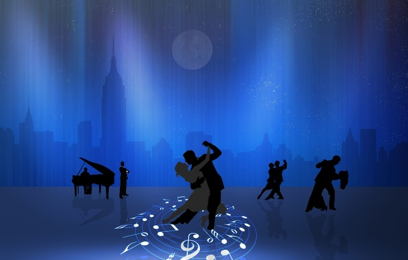 Picture the city, notes, the moon, piano, pair, dancing