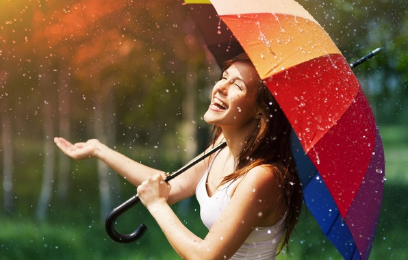 Picture the rain, summer, girl, the sun, drops, joy, happiness, smile, umbrella, background, rain, Wallpaper, mood, …