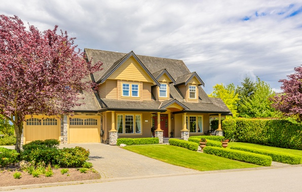 Picture greens, grass, trees, design, house, lawn, the sidewalk, mansion