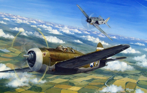 Picture aircraft, war, art, airplane, painting, aviation, drawing, ww2, dogfight, air combat, p 47 thunderbolt