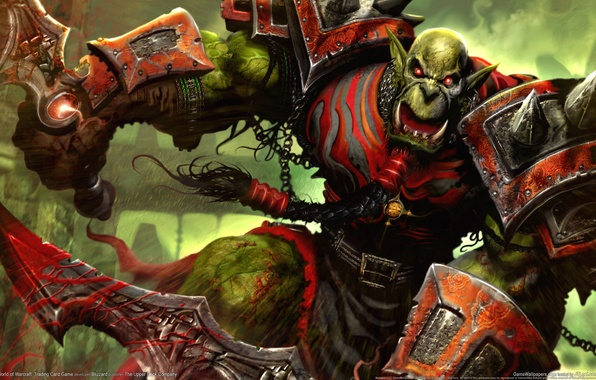 Picture Warrior, WoW, World of Warcraft, Swords, Creek, Trading Card Game, Orc, Orc