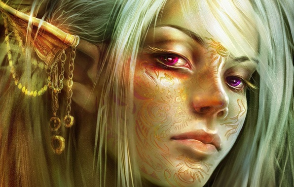 Picture girl, elf, blonde