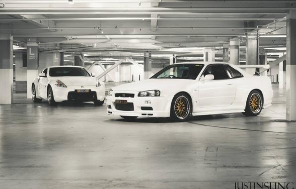 Picture white, nissan, Parking, white, skyline, Nissan, gt-r, 370, gtr, 370z, r34, bbs, Skye, skyline, white …