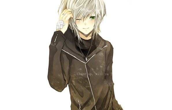 Picture text, smile, ring, white background, Guy, chain, green eyes, the patch, suspension, blonde