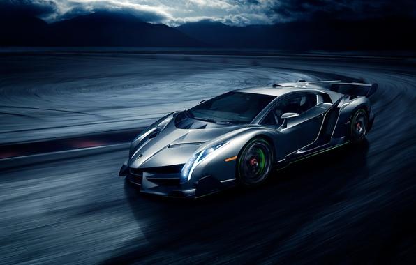 Picture movement, speed, Lamborghini, front, Veneno