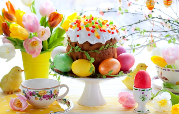 Picture flowers, eggs, spring, colorful, Easter, tulips, cake, cake, flowers, tulips, spring, painted, Easter, eggs, easter