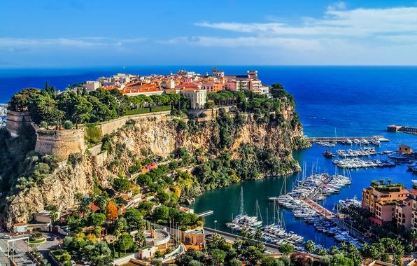 Picture sea, the sky, rocks, shore, coast, home, boats, horizon, boats, Monaco, Monte Carlo