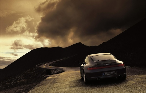 Picture road, clouds, 911, 997, Porsche, Weather, Carrera 4