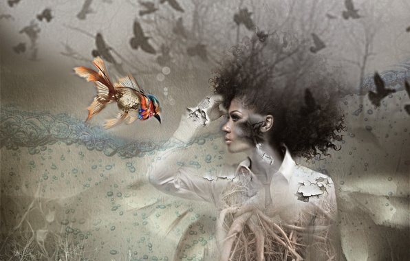 Picture girl, background, bird, fish