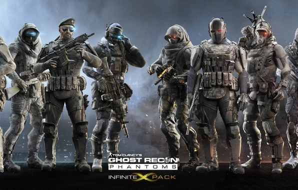 Picture the sky, weapons, smoke, mask, logo, sparks, hood, soldiers, logo, ghosts, Ubisoft, fighters, hologram, the …