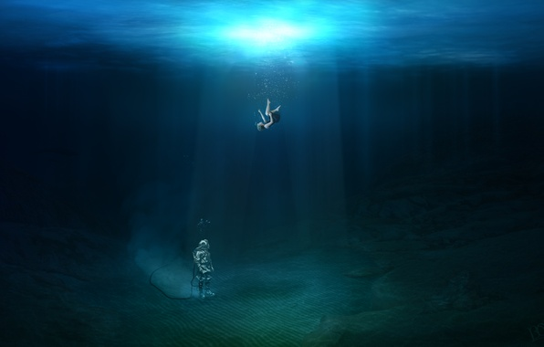 Picture water, girl, light, diver, the bottom, waves, girl, ocean, water, air, photoshop, diving, commercial, falling, …